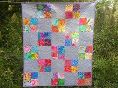 Modern Baby Girl Quilt- Girl Nursery Bedding- Patchwork Blanket-Kaffe Fassett Quilt- Purple, Grey, Gray, Yellow, Pink- Homemade Baby Quilt