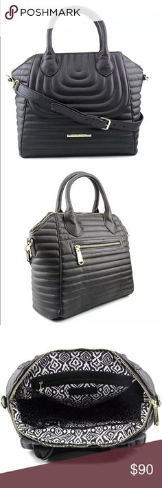 """Steve Madden CLASSIC LARGE DOME-LIKE Black Satchel Steve Madden Black vegan leather stylish Satchel NWT  CONDITION: New with tags/retail $158.00/ sold out in stores!  BRAND/STYLE: Steve Madden DO258825 COLOR: Black MATERIAL: Faux Leather DIMENSIONS: 12"""" W x 11"""" H x 5"""" D SHOULDER STRAP DROP: in. SKU: 3119963 Carry your belongings with ease in the DO258825 bag from Steve Madden .Made of quality Faux Leather materials, this will keep your essentials on-hand with great style. (Pics part if…"""