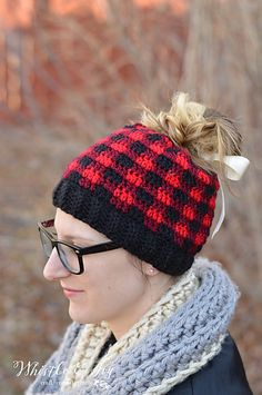 Make a fabulous messy bun hat in a trendy and lovely buffalo hat pattern! Comes with two closing options: traditional and ribbon cinch.