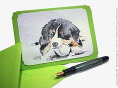 Hundefans, Tierfreunde, Berner Sennenhundfreunde, Schweizer und Sammler von Hunde-Fanart, Zeichnungen, Malereien, Miniaturen oder Künstlerkarten freuen sich darüber! #auftragskunst #aquarell #kunst #hahnemuehle #art #westentaschenkunst #hund #dog #Auftragsmalerei #malerei #handgemalt #watercolor #watercolours #watercolour #oswoa #miniatur #etsyresolutionDE #etsyresolution2016