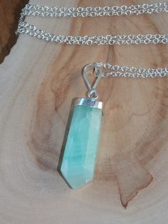 Green Calcite Necklace on Sterling Silver Chain by MalieCreations