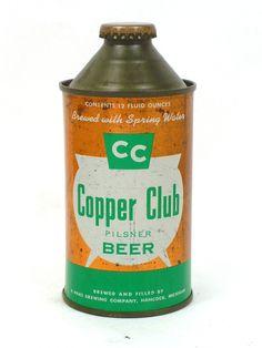 Cans: Cone Tops 10-12oz Copper Club Pilsner Beer A. Haas Brewing Company Hancock MI USA