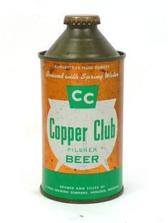 Cans: Cone Tops 10-12oz Copper Club Pilsner Beer A. Haas Brewing Company Hancock MI USA