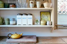Small wonder: transform a tired terrace on a tiny budget – in pictures the kitchen worktop with shelving above it - Own Kitchen Pantry Small Kitchen Pantry, Kitchen Pantry Cabinets, Kitchen Worktop, Kitchen On A Budget, Kitchen Shelves, Bathroom Shop, Budget Bathroom, Kitchen Furniture, Kitchen Decor