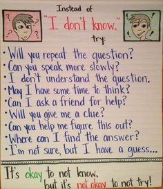 "ESL Amplified: Getting Students Beyond ""I DON'T KNOW…"" high expectations for the beginning of the year! // Help for when a student is ""suffering"" from disengagement or is feeling demotivated. Ell Strategies, Teaching Strategies, Teaching Ideas, Teaching Quotes, Teaching Activities, Teacher Tools, Teacher Resources, Esl Resources, Classroom Resources"