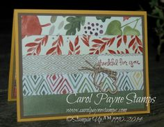 We've had fun playing with all the different prints in the Color Me Autumn Designer Paper! See my blog for more:http://www.carolpaynestamps.com/2014/10/stampin-up-sunday-swap-day-on-sunday-night.html
