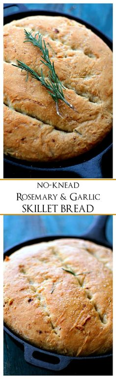 Rosemary and Garlic No-Knead Skillet Bread | www.d…