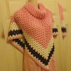 Hot Off My Hook! Project: Cowl Neck Poncho  Started: 30 Nov 2015  Completed: 01 Dec 2015 Model: Madge the Mannequin Crochet Hook(s): H(5mm) Cowl portion, & Granny Stitch Yarn: I LoveThis Yarn Color(s): Pink, Pinkytoes, White, Grapette Pattern Source: Simply Crochet Magazine, Issue No. 25 (Hard Copy) Pattern Designed By: Simone Francis Notes: This is my 57th Cowl-Neck Poncho and the 1st time I've made one for a young girl!