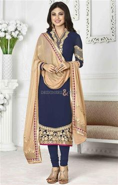 Extremely fashion-focused #designer_salwar_kameez for #modern girls. As this Well-shaped Indian #party_wear_dress for engagement is very best for future brides to wear in any pre- wedding functions.  Combination of such stylish sources like tight bottom, contrast dupatta, and embroidered #long_tunic can decorate you in a way that attracts everyone towards you for sure in 2016. Designer #salwar_kameez #indian_party_wear #engagement_dress