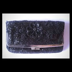 Black floral beaded frame purse Nifty frame version of the elegant beaded evening clutch, more structured and organized than most if you need more storage. Foldover frame pouch with small zipper pocket, allover beading. Vintage  Bags