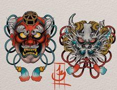 Ideas For Traditional Tattoo Drawings Sketches Flower Irezumi Tattoos, Tengu Tattoo, Hanya Tattoo, Japanese Tattoo Art, Japanese Tattoo Designs, Japanese Art, Mascara Hannya, Traditional Tattoo Drawings, Fu Dog