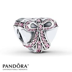 This heart-shaped sterling silver charm from the PANDORA 2015 Valentine's Day collection features a pretty bow depicted in pink cubic zirconias. Exclusively available at Jared® the Galleria of Jewelry. Style # 791423PCZ.