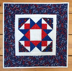 USA Patriotic Quilted Table Topper American by MoranArtandQuilts