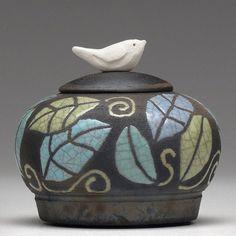 Miniature Jar,Tiny jar, turquoise blue leaves, Raku, ceramic, Jar with bird,art pottery, home decor,handmade jar, pottery