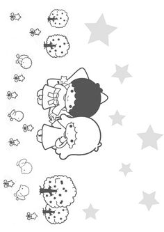 1000 images about coloriages for Little twin stars coloring pages