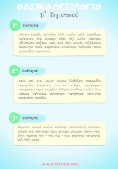 Βασικό λεξιλόγιο Γλώσσας Β' Δημοτικού Owl Labels, Drawing For Kids, Homework, Grammar, Greek, Therapy, Teacher, Education, Board Ideas