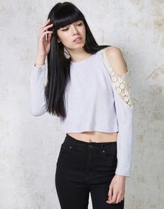 Hearts and Bows Eden Lace Open Shoulder Crop Sweater - A unique streetstyle store stocking own labels Hearts & Bows + CLOAK plus Fred Perry, Carhartt, ASA, Motel and more