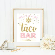 Taco bar table food sign winter onederland party by Kattygoodparty