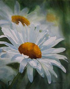 White Daisy Watercolor at ArtistRising.com