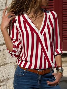 Women Striped Blouse Shirt Long Sleeve Blouse V-neck Shirts Casual Tops Blouserricdress Striped Long Sleeve Shirt, Long Sleeve Tops, Long Sleeve Shirts, White Long Sleeve Shirt Outfit, Mode Outfits, Fashion Outfits, Fashion Blouses, Ootd Fashion, Spring Fashion