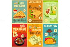 Mexican Food Mini Posters Set by elfivetrov on @creativemarket