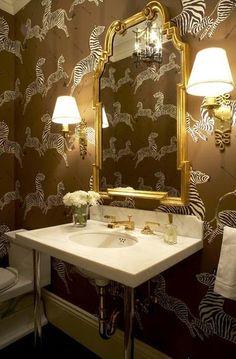 Glamorous zebra wallpaper.