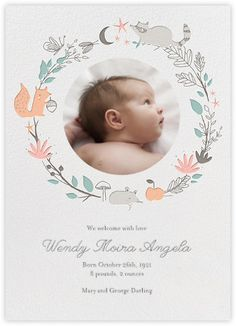 Bandit's Wreath - baby announcement Little Cube for Paperless Post Geboortjekaartje meisje jongen birth announcement card Famme.nl
