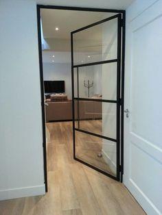 better option than 3 panels Steel Frame Doors, Steel Doors And Windows, Bathroom Interior, Home Living Room, Interior Design Living Room, Flur Design, Inside Doors, House Doors, Iron Doors
