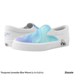 Turquoise Lavender Blue Waves Printed Shoes