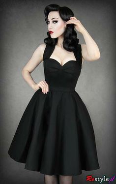 I found 'Black Pin-up Dress' on Wish, check it out! Possible Brides maid dress!  just with a different color