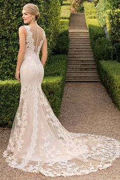 7a065d7318e casablanca bridal wedding dresses fit and flare illusion back with buttons  full lace