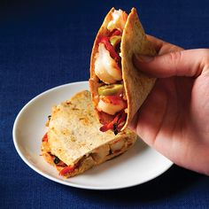 Our 15-minute Shrimp & Goat-Cheese Quesadilla! #drool  Clean Eating www.cleaneatingma...