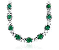 Emerald and Diamond Necklace in 18k White Gold #bluenile