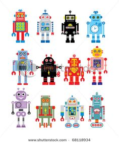 "Vector Robots for artwork for next incarnation of a ""Big-Girl Room"""