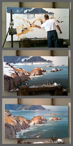 "Progression: ""Warm Pacific"" by Scott L. artist at work Painting Lessons, Art Lessons, Landscape Art, Landscape Paintings, Oil Paintings, Art Techniques, Art Studios, Artist At Work, Art Oil"