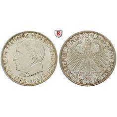 Bundesrepublik Deutschland, 5 DM 1957, Eichendorff, J, vz-st, J. 391: 5 DM 1957 J. Eichendorff. J. 391; vorzüglich-stempelfrisch… #coins