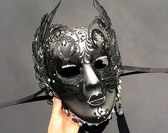 Masquerade negro bola Máscara máscara veneciana con por Yacanna