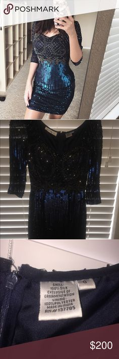 Blue sequin homecoming dress Size 0. Never worn, only tried on. Originally $300+ tax. Love this but I ended up getting a different dress and never wore it. Brand is shail k, Sherri hill for exposure. Sherri Hill Dresses Prom