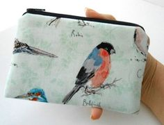Woodland Birds Zipper Pouch Little Coin Purse ECO Friendly Padded LIMITED by JPATPURSES, $9.00