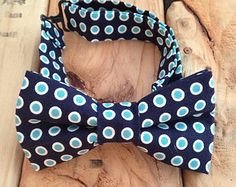 Navy blue and turquoise polka dot bow tie, Turquoise bow tie, bow tie, navy blue bow tie, bow ties, navy polka dot tie, adjustable bow tie,