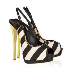 van Giuseppe Zanotti kalf haar en goud Jake platform sandalen zwart abrikoos
