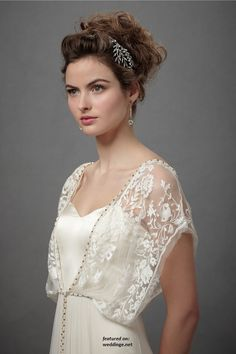 "BHLDN Bohemian Wedding Dresses 2012. I like that a simple sheath dress becomes more wedding like with this lace"" jacket"". It could be removed later to wear the dress again. White or other colors, maybe."
