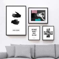 Living room gallery wall made from BLÈK PRINTS shop printable items.