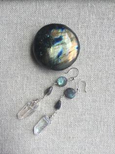 Aura Quartz Labradorite Gemstone Earrings   Etsy Tourmaline Necklace, Gemstone Earrings, Etsy Earrings, Black Tourmaline, Short Necklace, Labradorite, Quartz, Gemstones, Sterling Silver