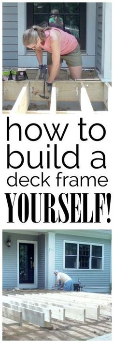 A video and photo tutorial detailing how to build the frame for a deck - yes you CAN do it yourself! A video and photo tutorial detailing how to build the frame for a deck - yes you CAN do it yourself! Building A Deck Frame, Building A Shed, Build A Deck, Deck Building Plans, Backyard Projects, Outdoor Projects, Wood Projects, Unique Garden, Fotografia Tutorial