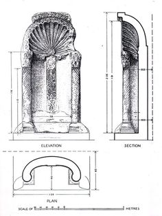 Floor plan, section and elevation of mihrab | Archnet
