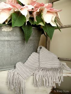Pink poinsettias and a pretty grey scarf