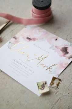 Wedding Roses Just My Type Wedding Stationery and Wedding Invitation Design NZ Pretty Floral Pink Gold Watercolour Roses Peonies Wedding Invitation Inspiration, Custom Wedding Invitations, Wedding Stationary, Wedding Invitation Cards, Wedding Cards, Our Wedding, Event Invitations, Chic Wedding, Wedding Verses