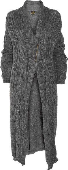 VIVIENNE WESTWOOD ENGLAND Oversized Metallic Knitted Cardigan - Lyst