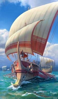 7 Wonders Armada by Etienne Hebinger Ancient Rome, Ancient Greece, Ancient History, Greek Soldier, Old Sailing Ships, Greek Warrior, Fantasy Places, Greek Art, Fantasy Landscape